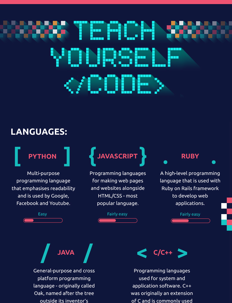 Teach Yourself To Code Course Comparison Infographic