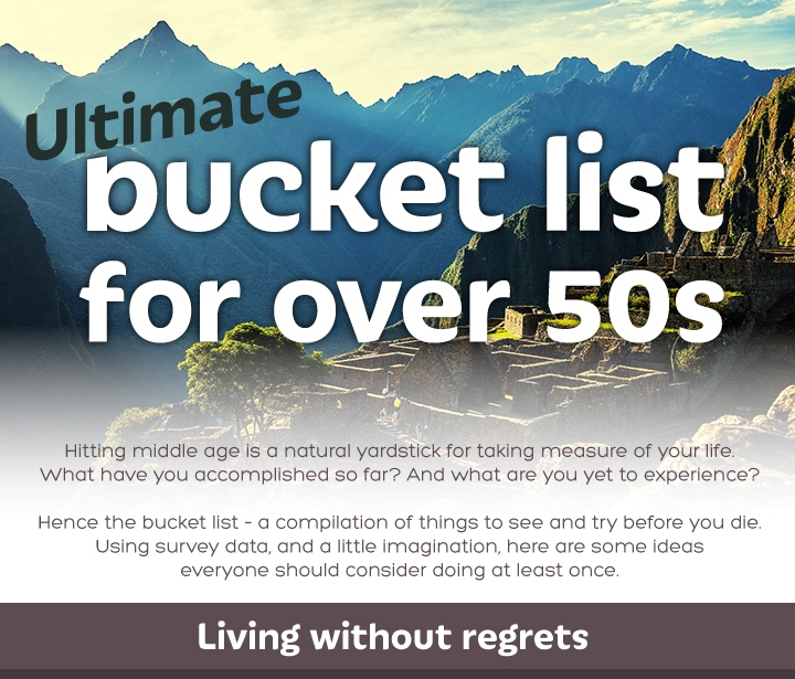 ultimate bucket list for over 50s