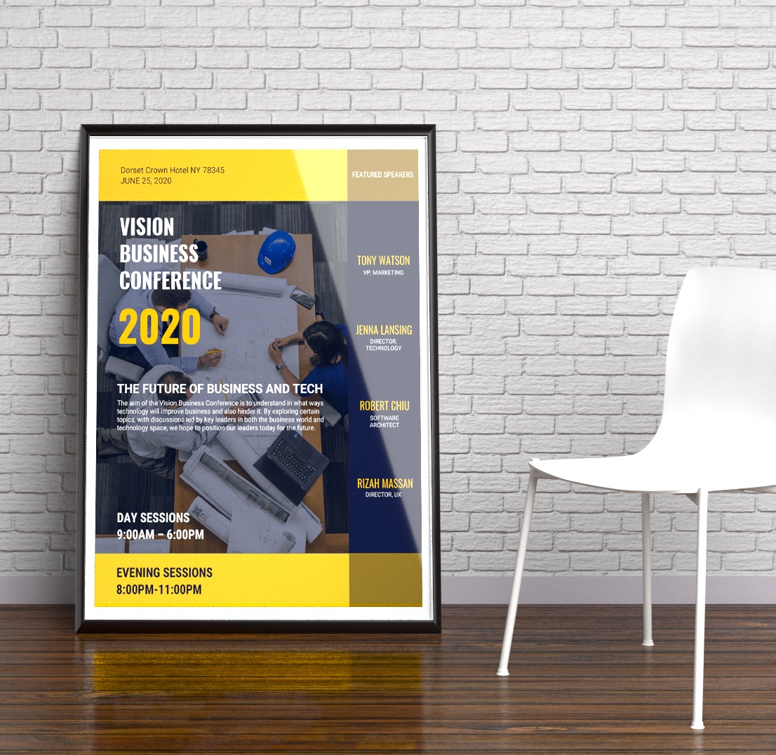 Home Design Business Ideas: Blue & Yellow Business Conference Event Flyer Idea
