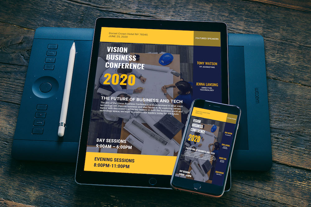 Blue & Yellow Business Conference Event Flyer Idea