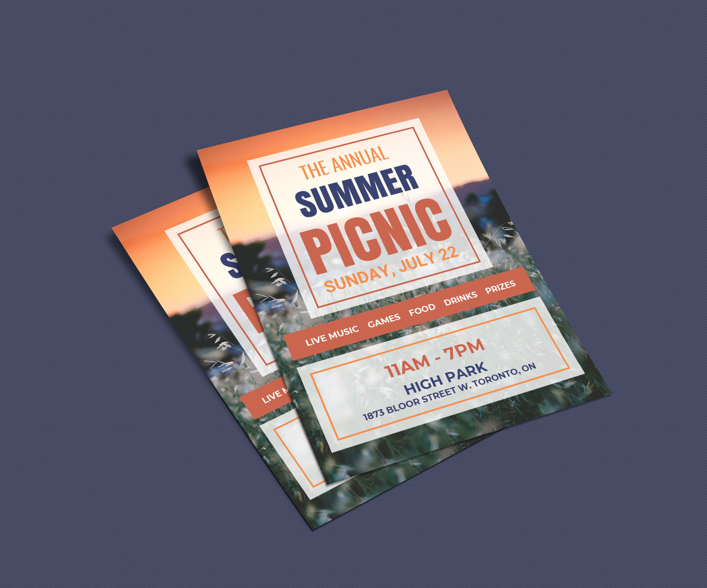 Colorful Square Picnic Event Flyer Idea