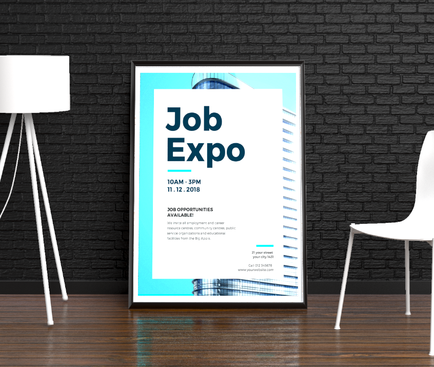 Creative Blue Now Hiring Event Poster Example22