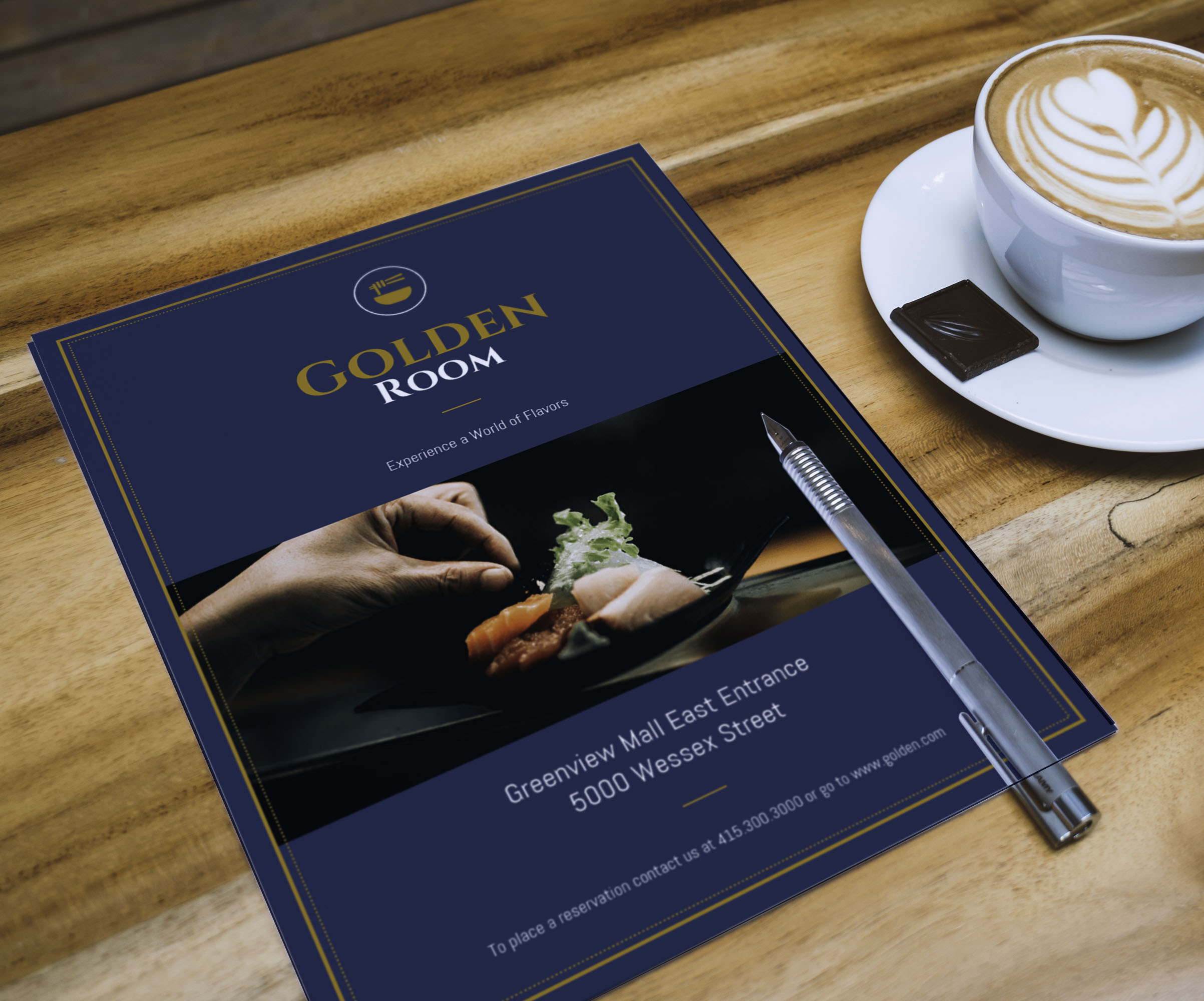 Dark Blue & Gold Fancy Restaurant Flyer Idea
