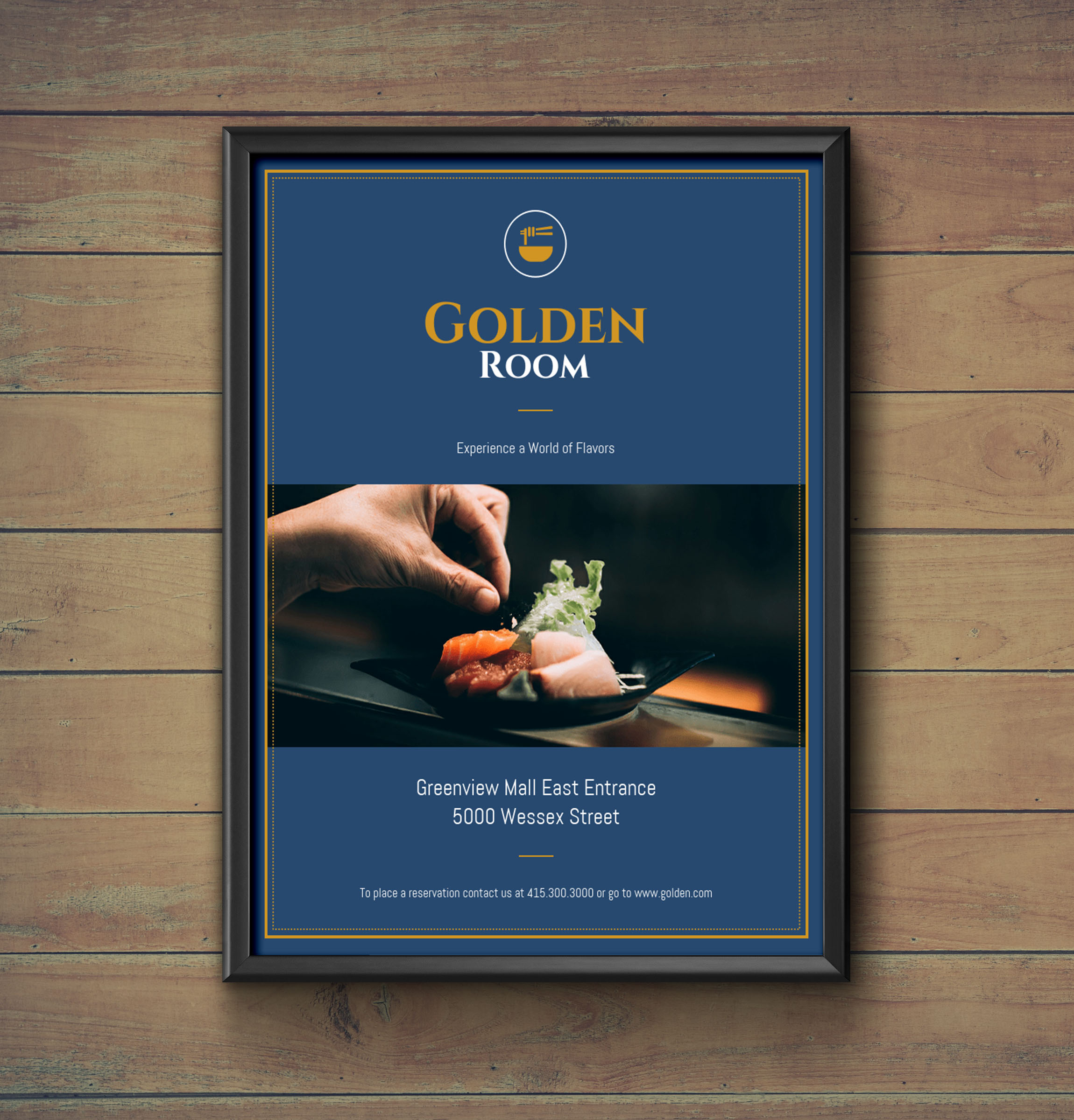Dark Blue & Gold Fancy Restaurant Flyer Idea