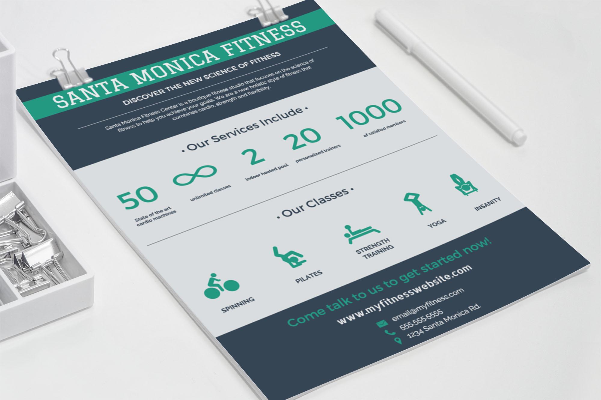 flat green blue fitness centerbusiness flyer idea3