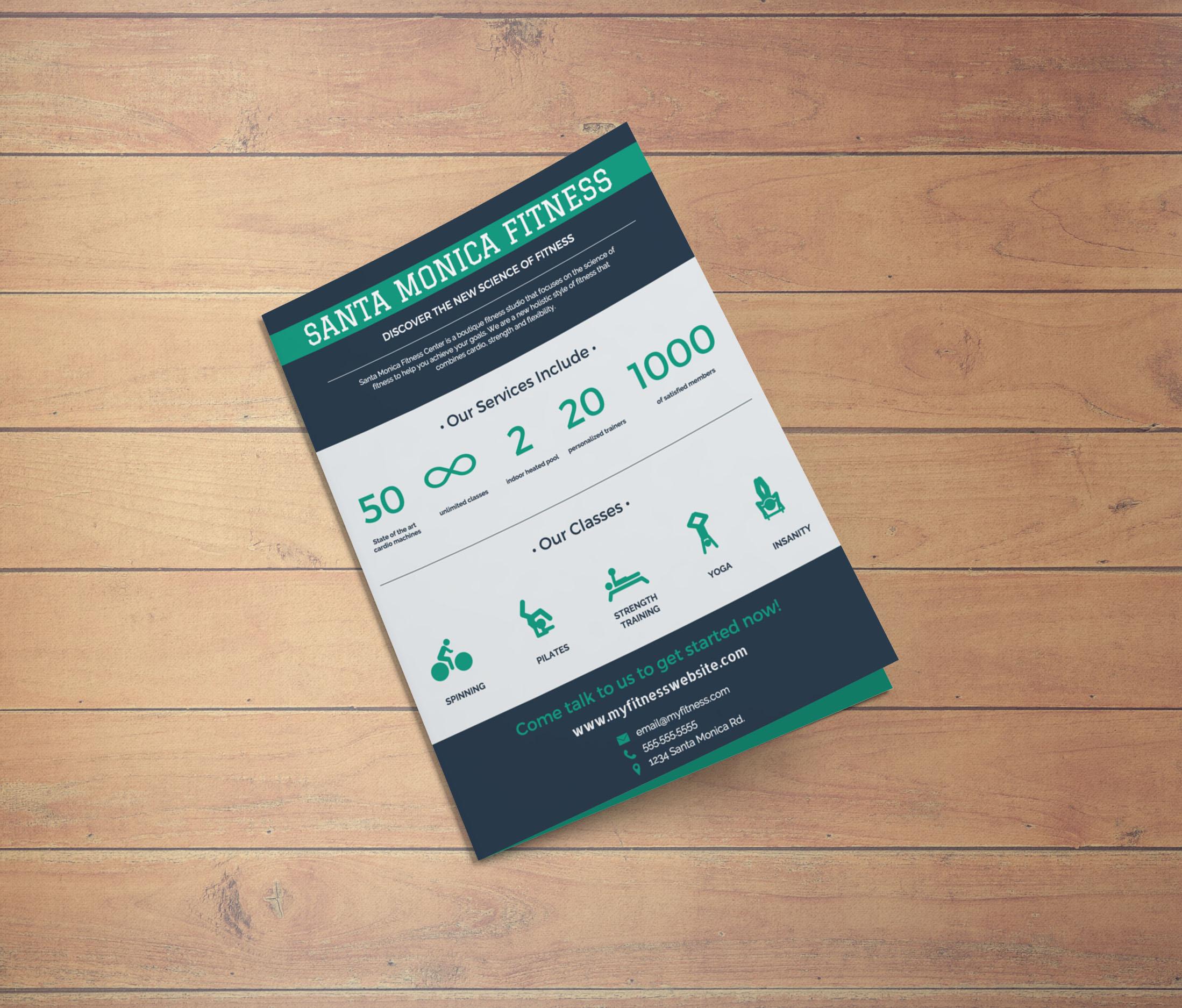 Flat Green & Blue Fitness CenterBusiness Flyer Idea3