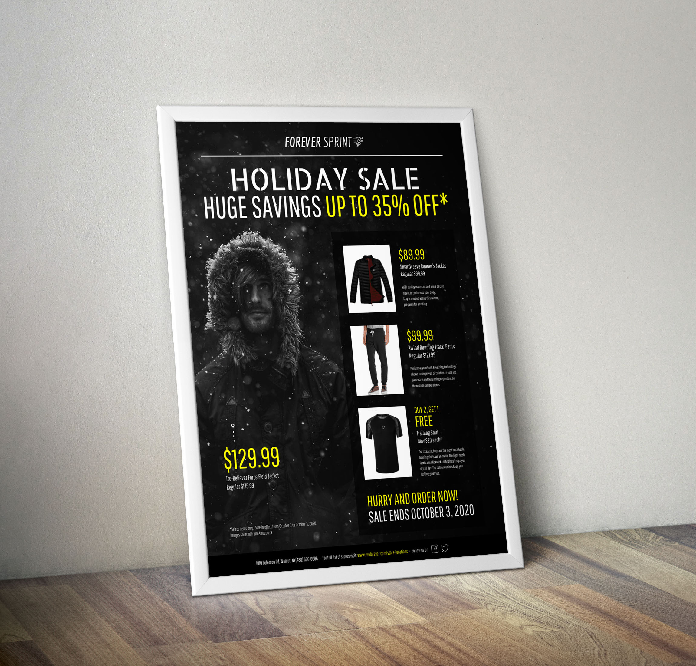 Modern Black & Yellow Holiday Sales Flyer Idea