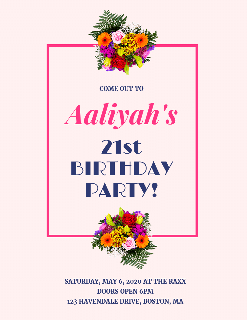 Pink Minimalist Birthday Party Event Flyer Idea