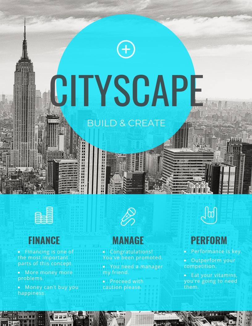 simple blue transparent real estate flyer idea