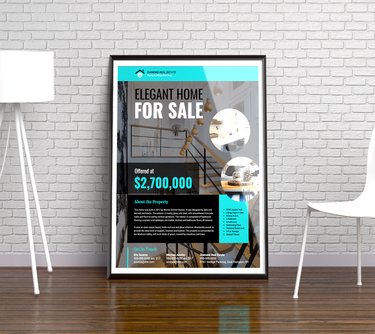 Teal & Black Modern Real Estate Flyer Idea