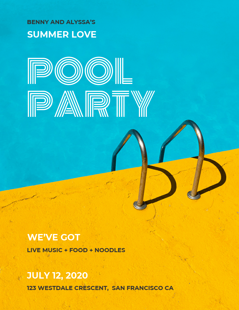 Colorful modern pool party event poster idea venngage for Pool design examples