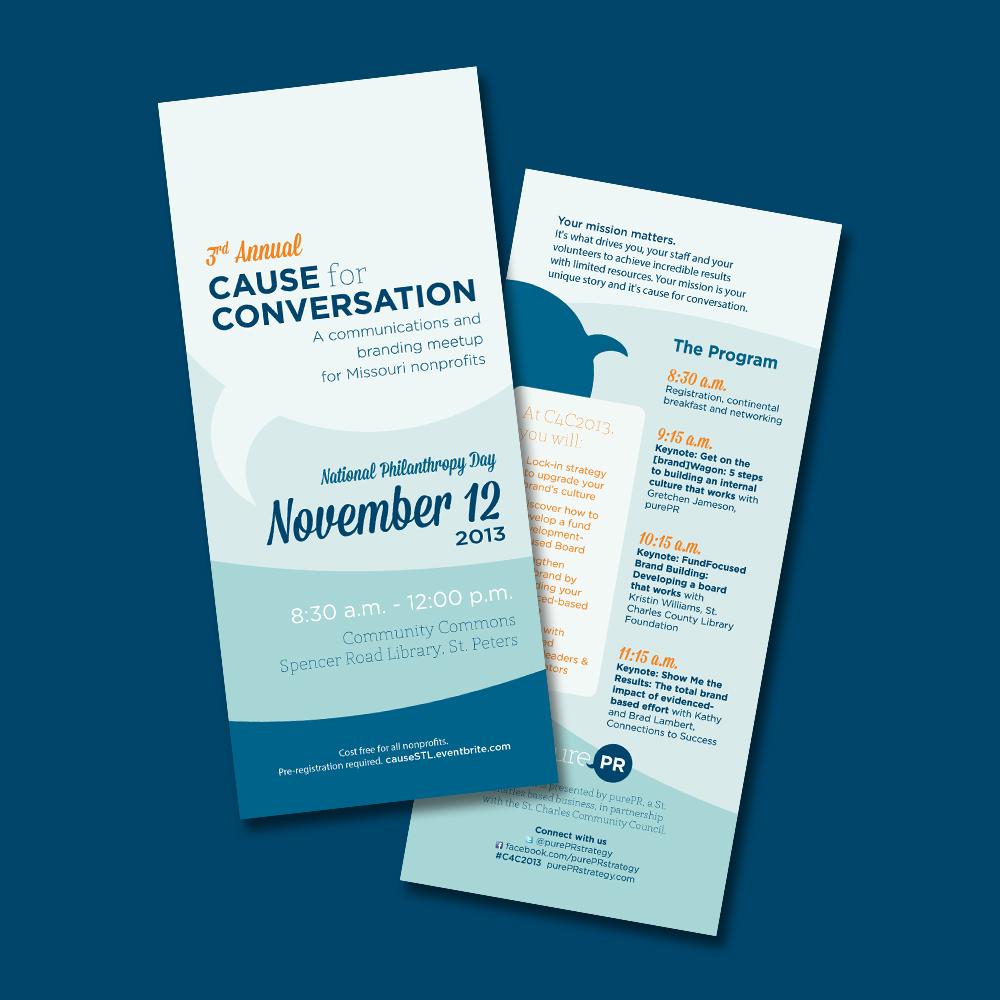 blue cause for conversation nonprofit event flyer idea venngage