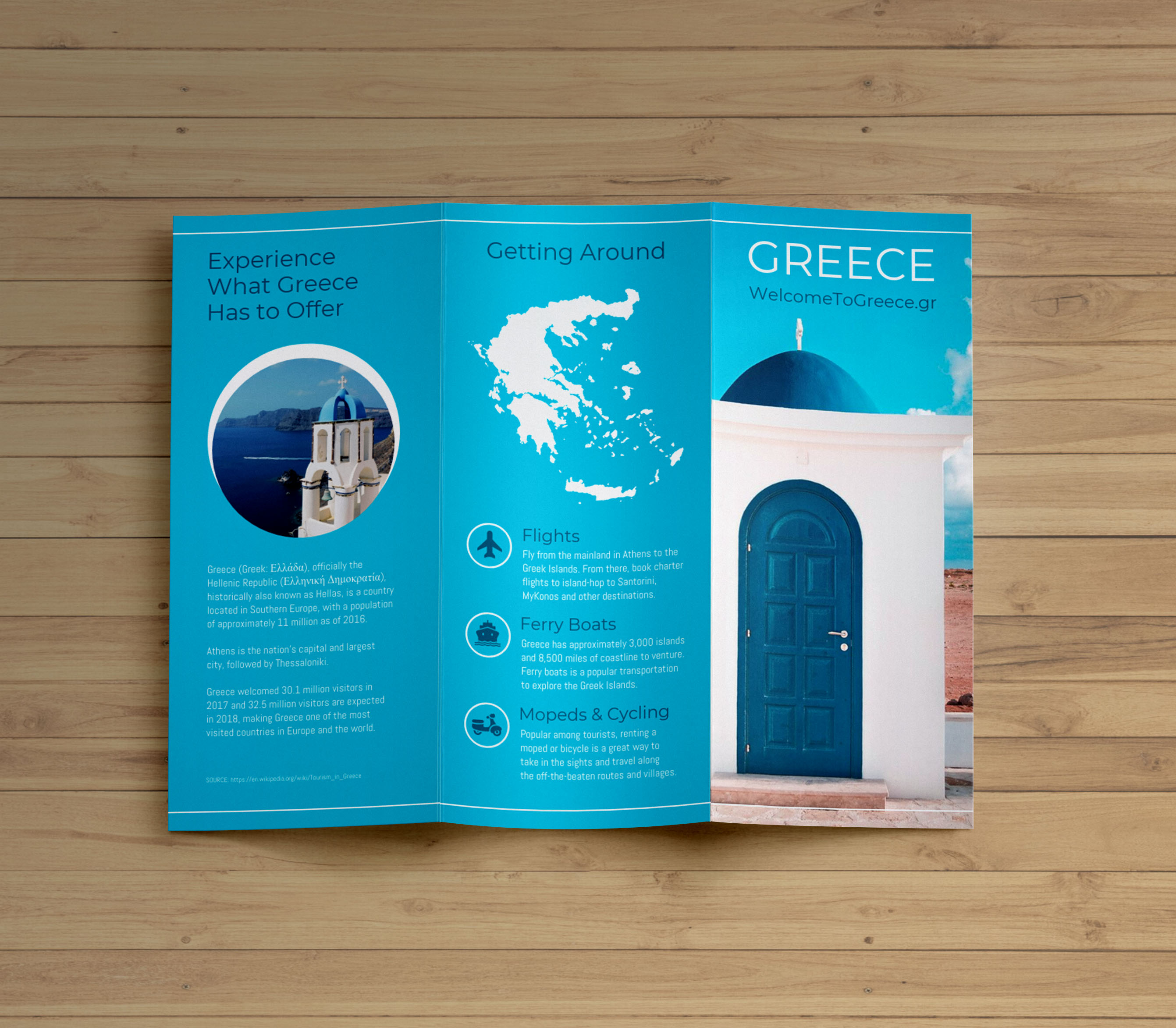 creative blue greece travel trifold brochure idea venngage