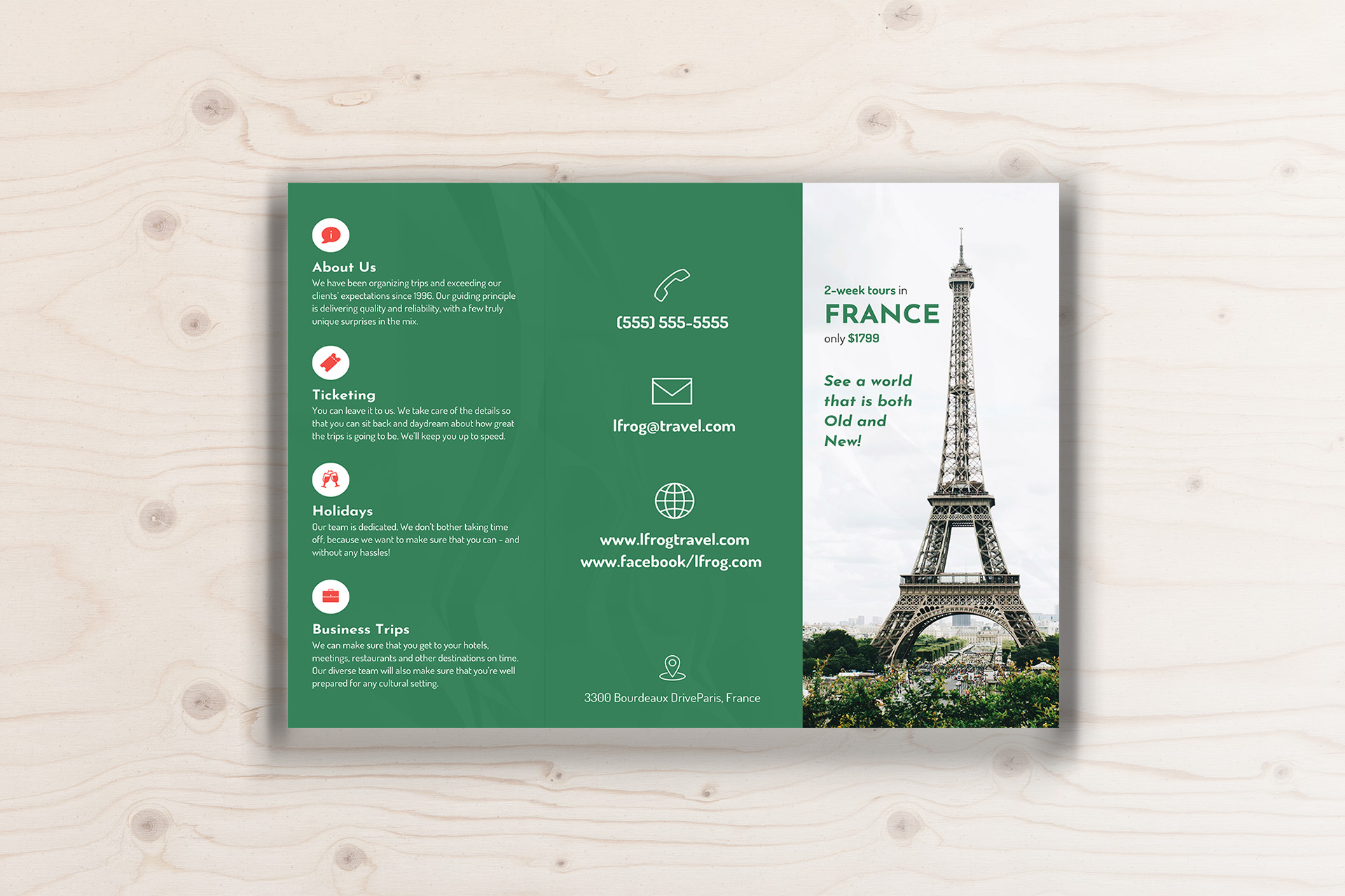 green photo centric trifold travel brochure idea