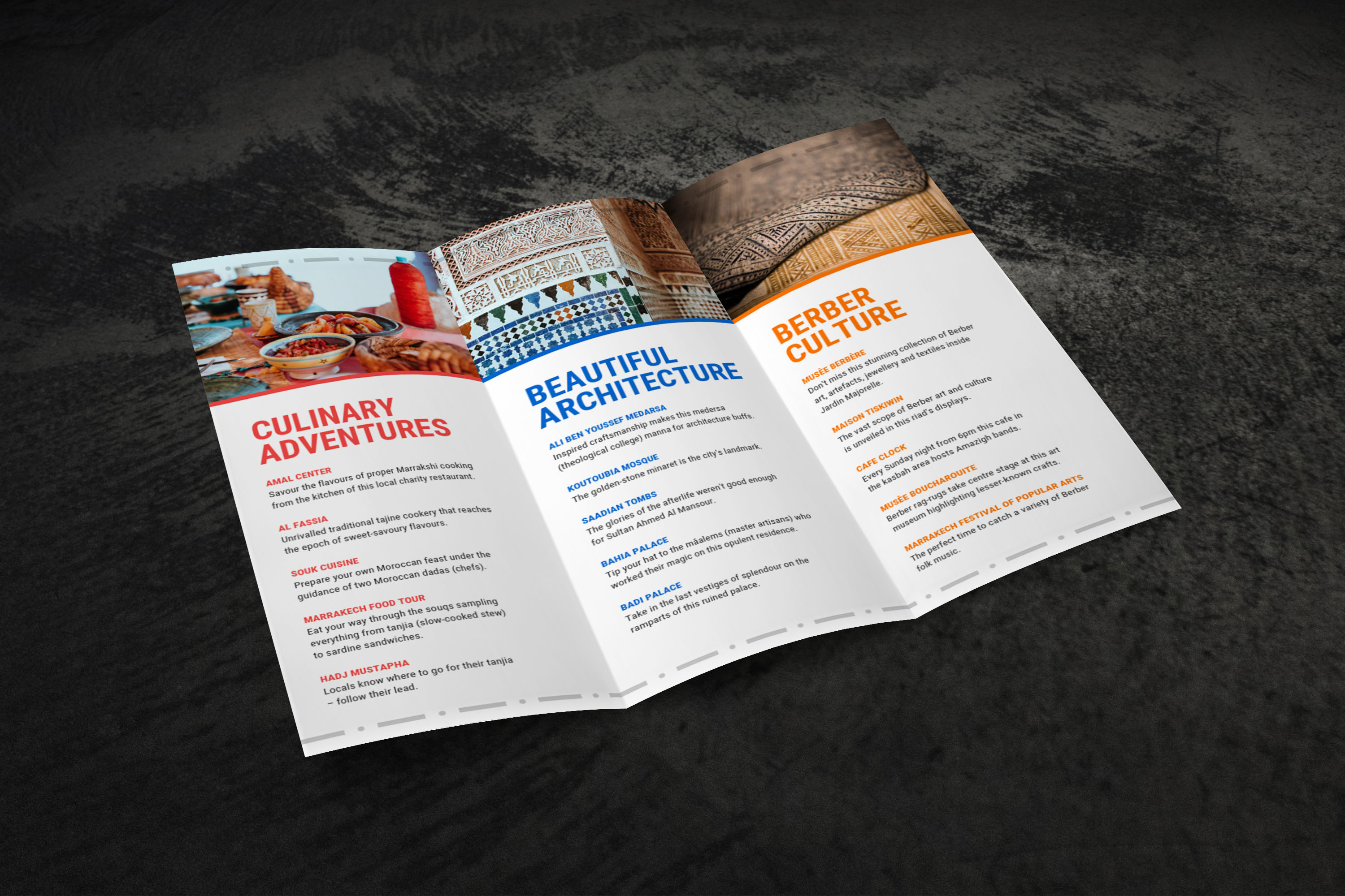 Marrakech Travel Trifold Brochure Template 1