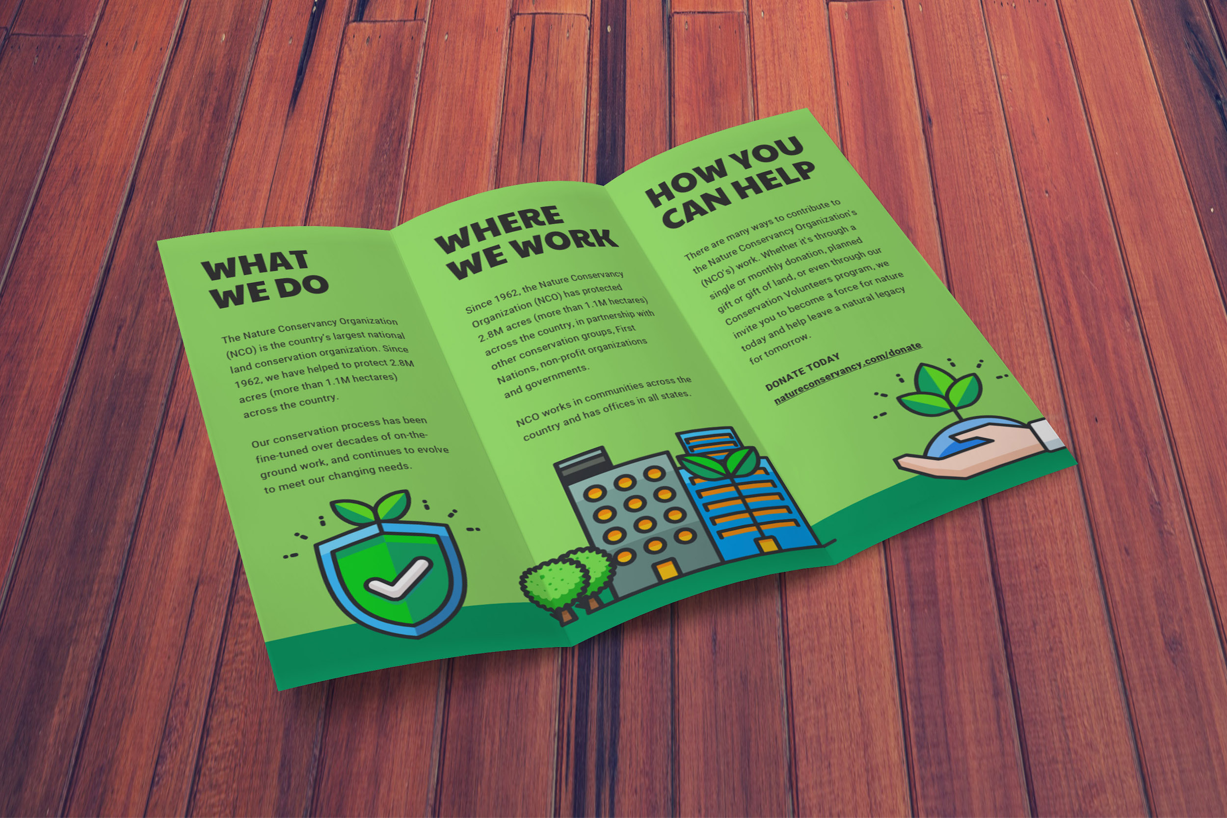 natural green illustrated nonprofit trifold brochure idea - venngage