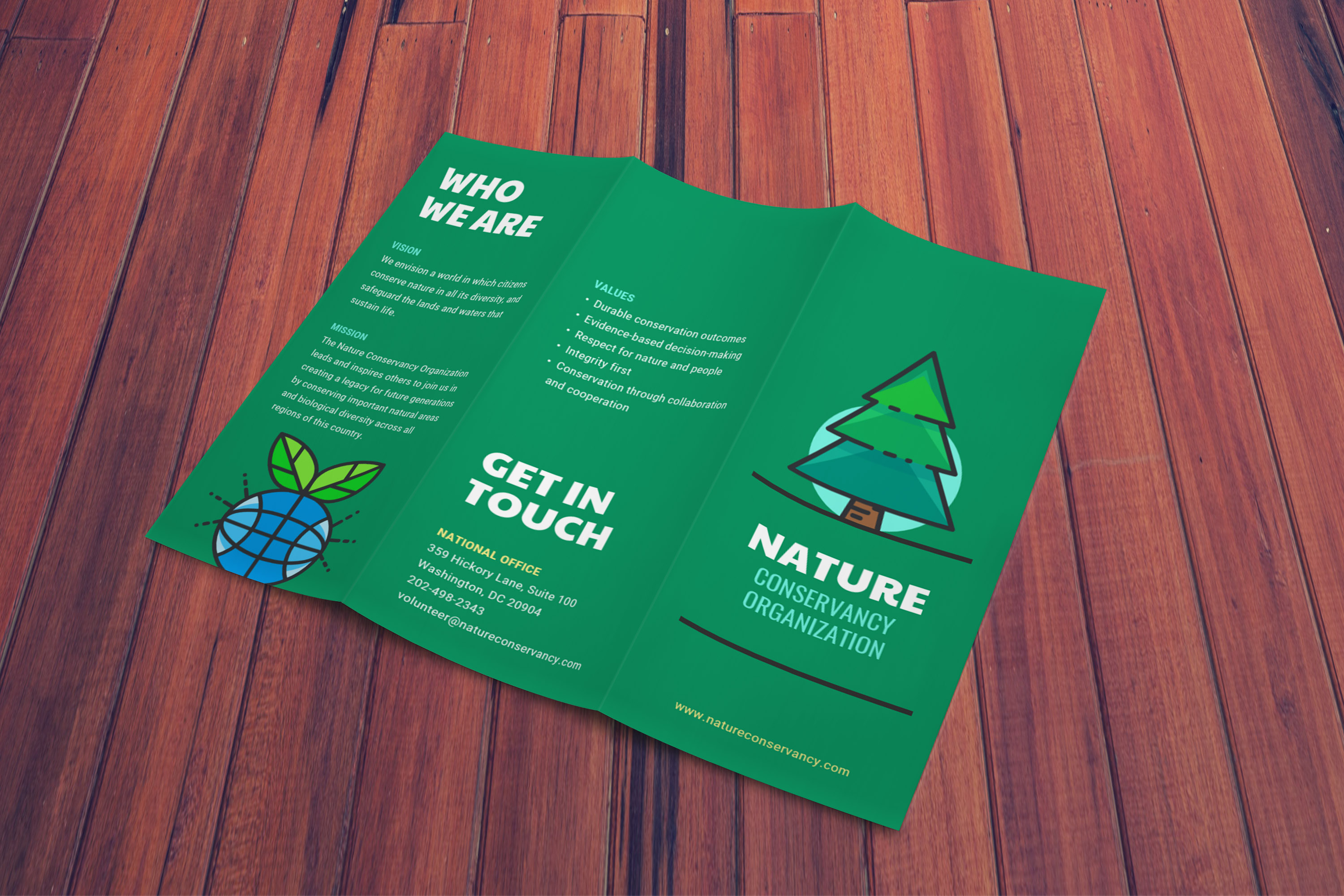 natural green illustrated nonprofit trifold brochure idea