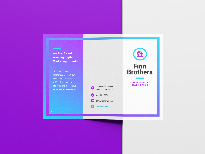 purple  u0026 blue gradient marketing trifold brochure idea
