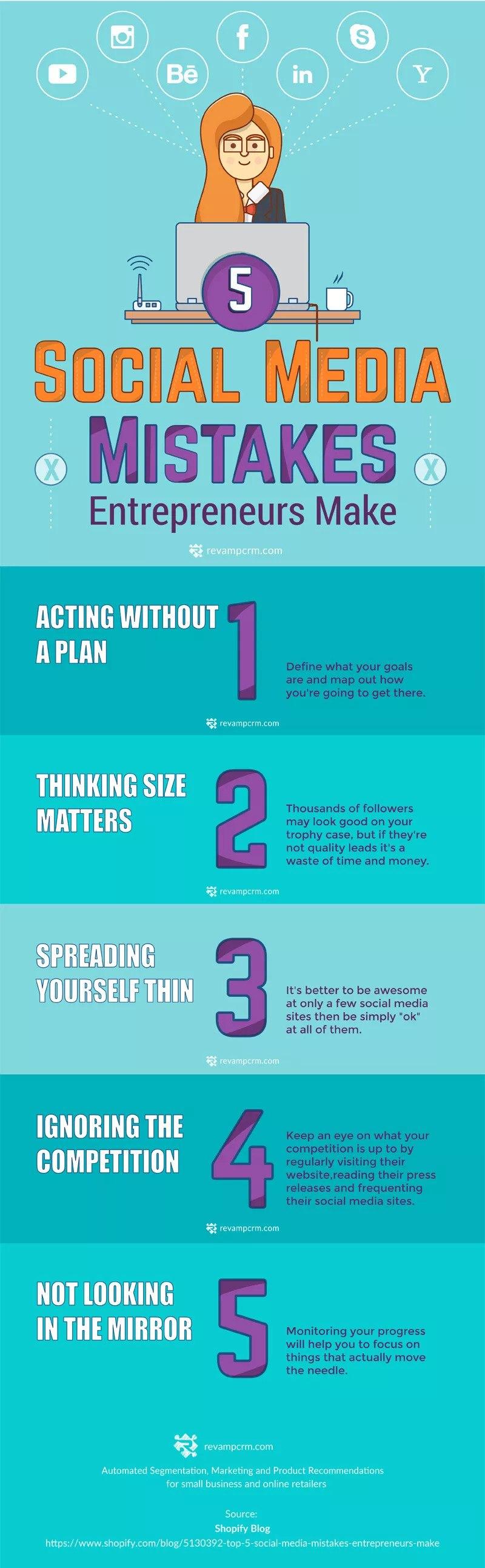Top 5 Social Media Mistakes Entrepreneurs Make Infographic Idea1