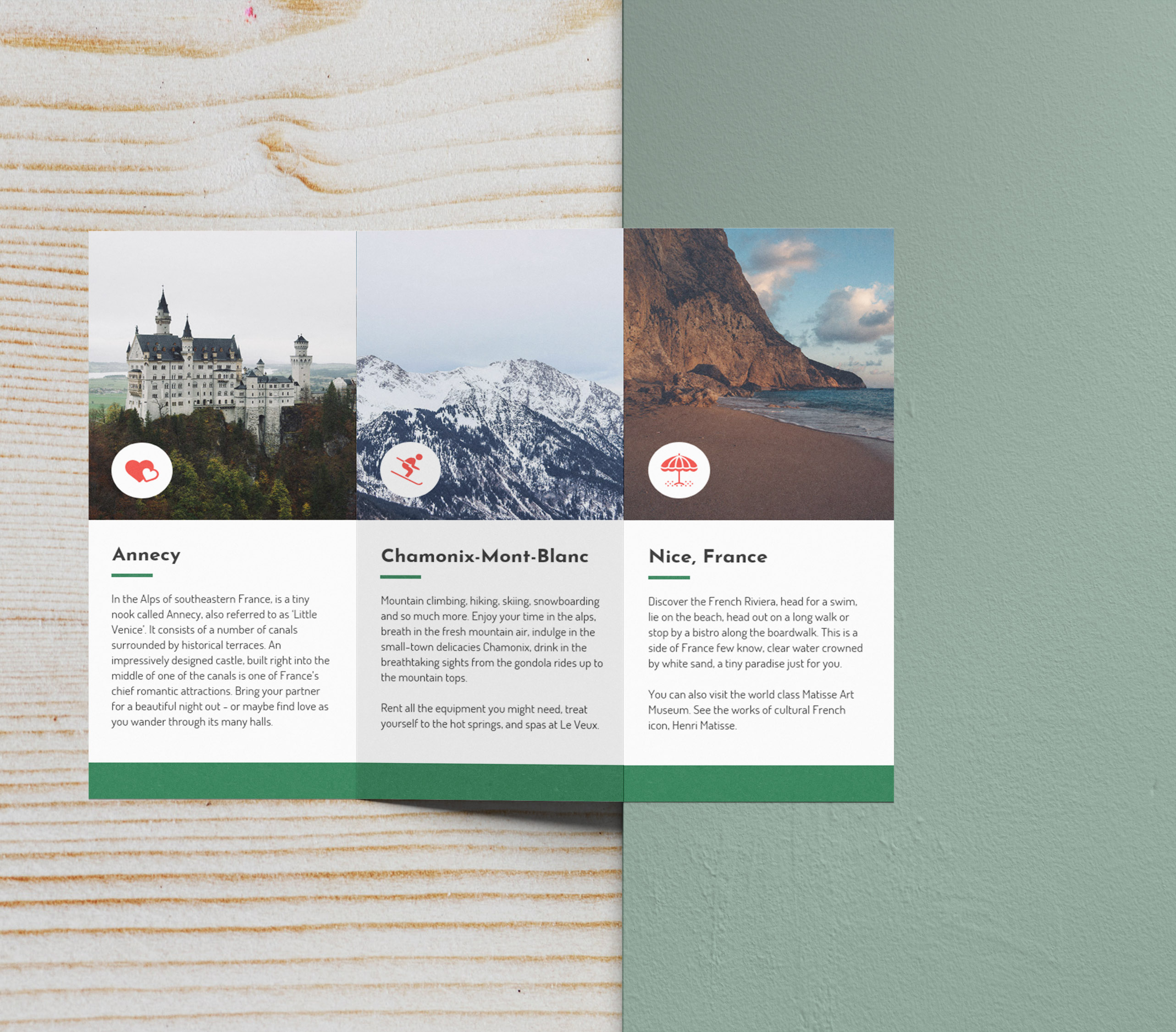 green photo centric tri fold travel brochure idea