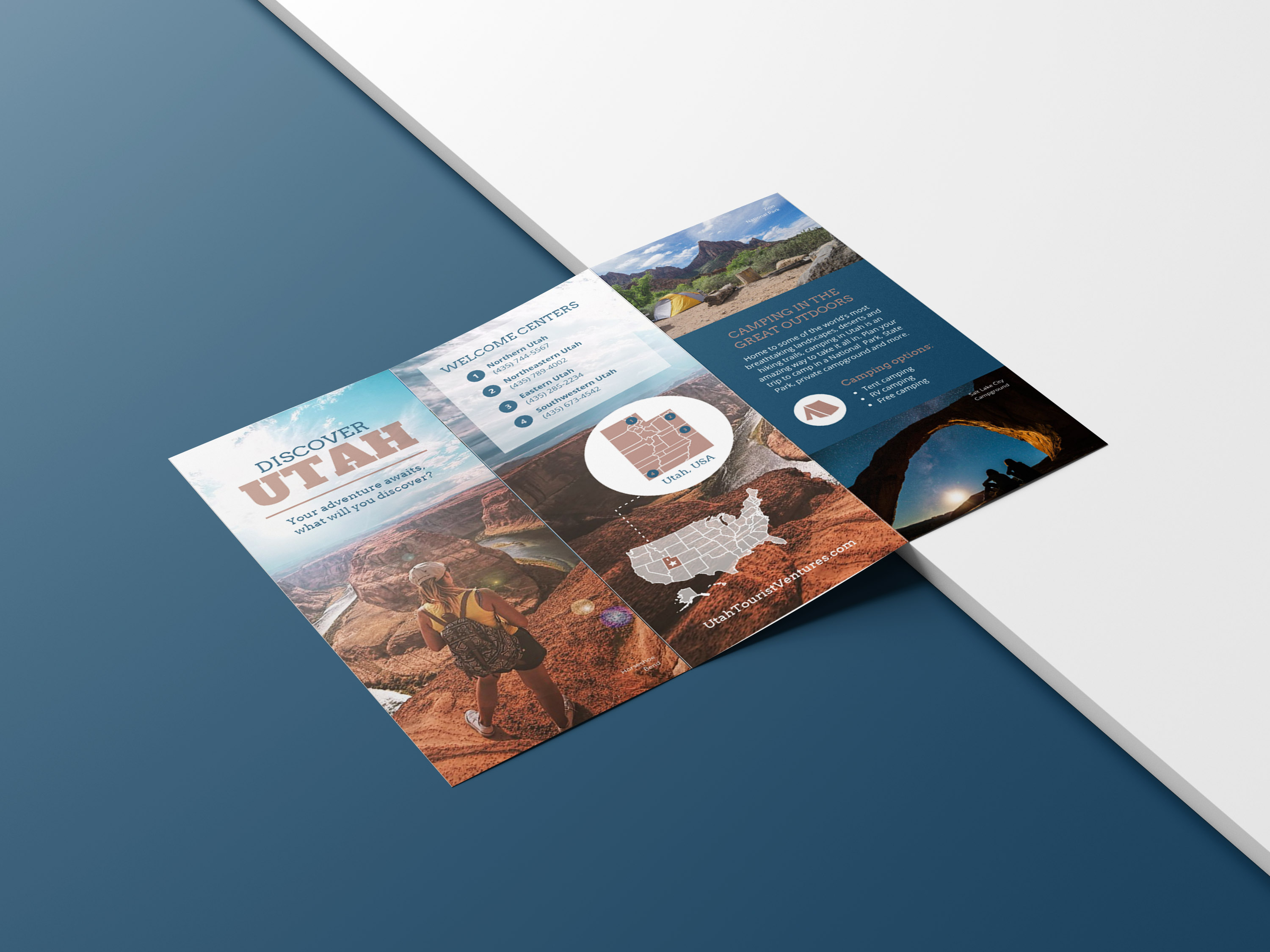 Photo Centric Blue Outdoor Travel Brochure Idea