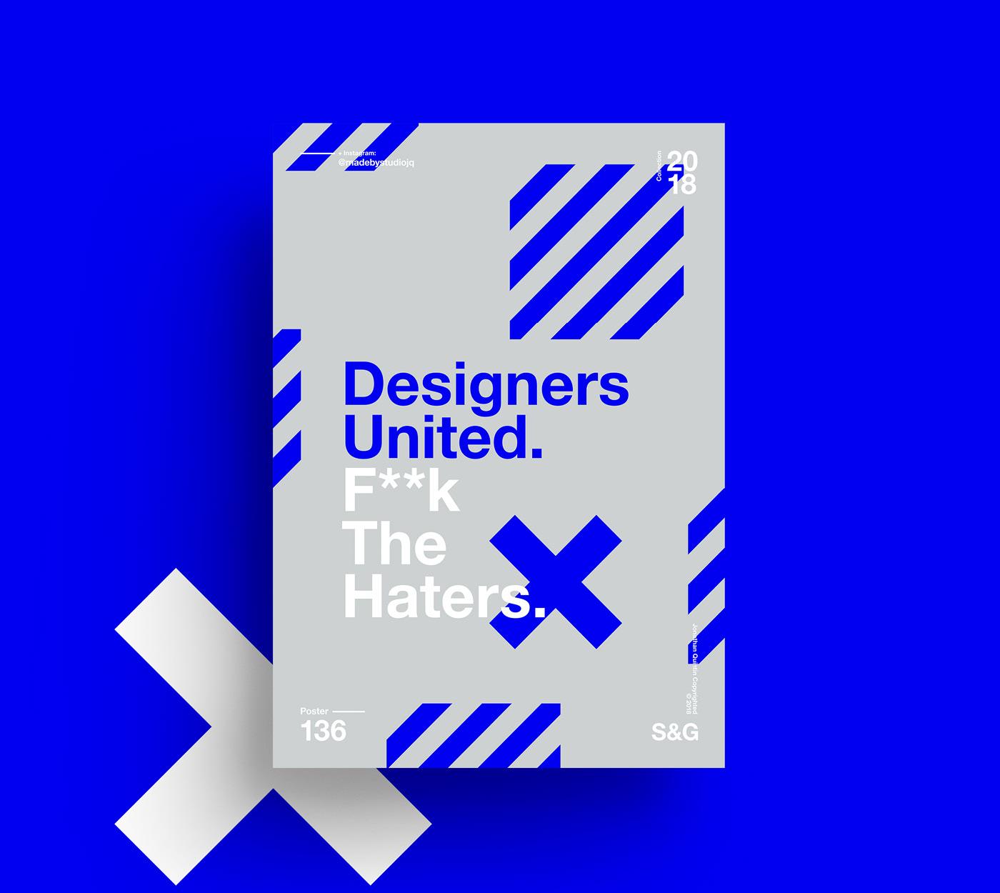 Blue & Gray Designers United Minimalist Poster Example