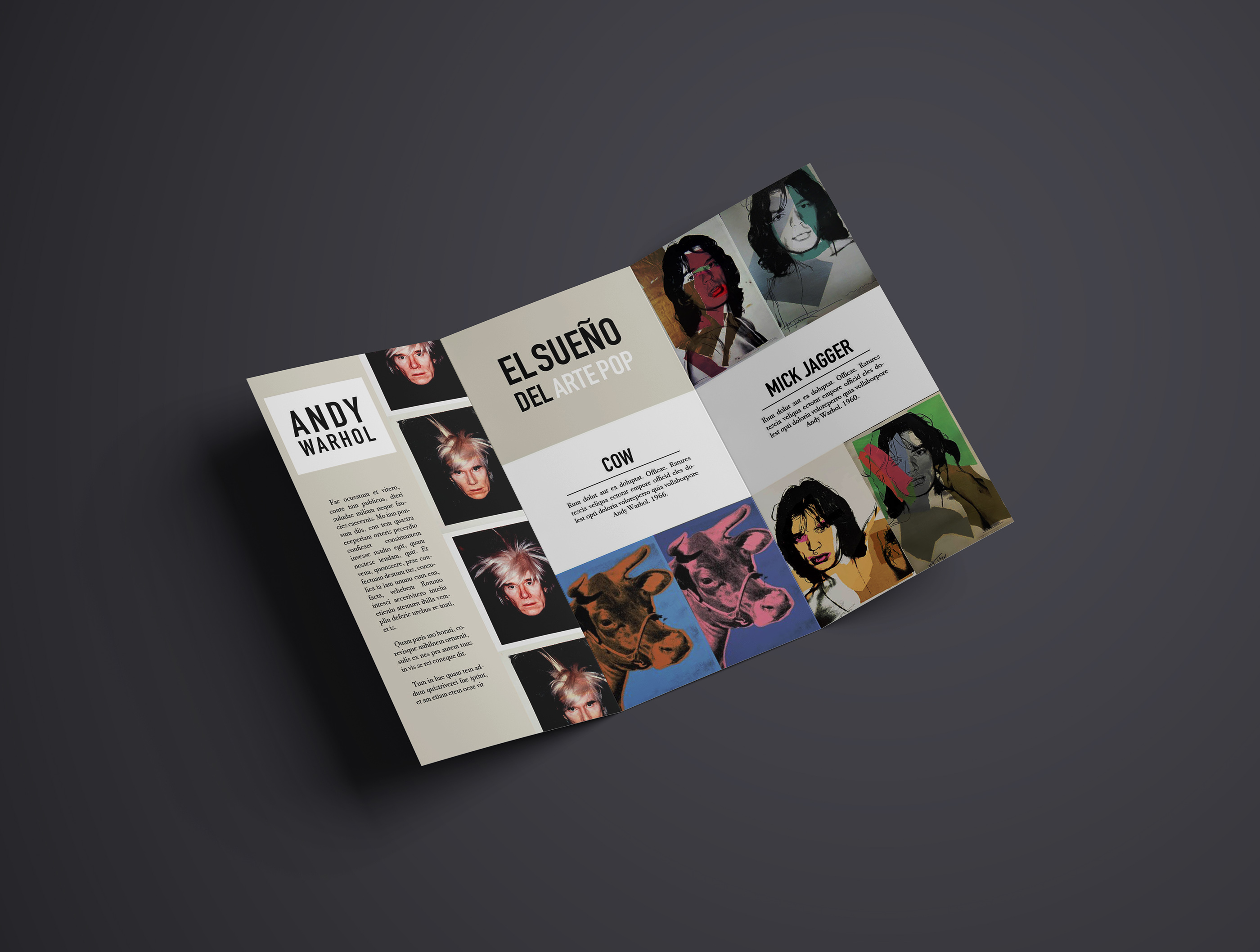 Andy Warhol Pop Dreams Exhibit Trifold Brochure Example