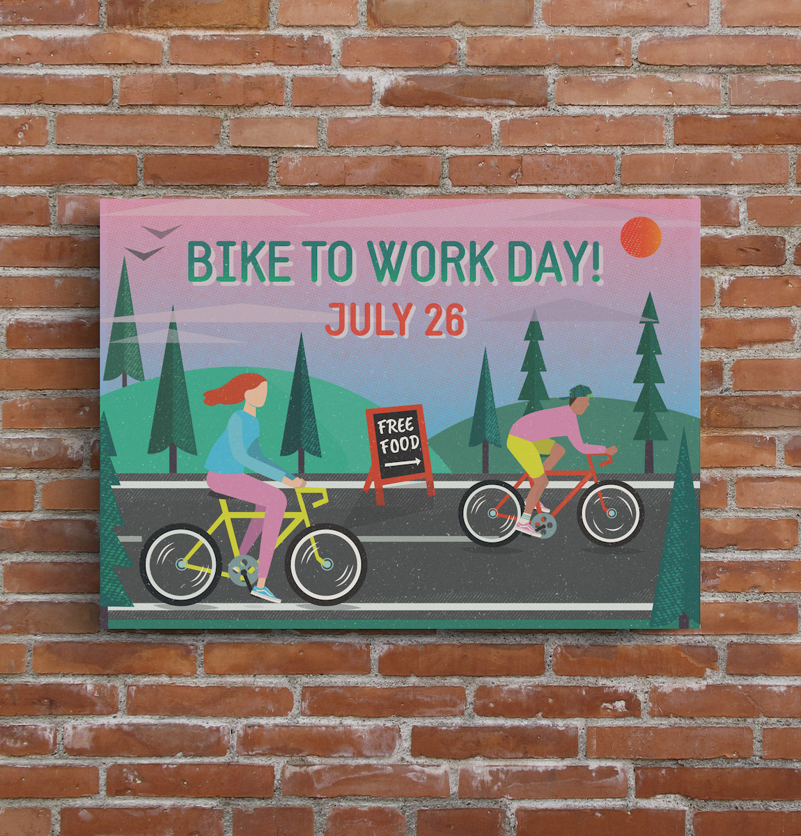 bike to work day creative horizontal event flyer example colorful business information flyer template1