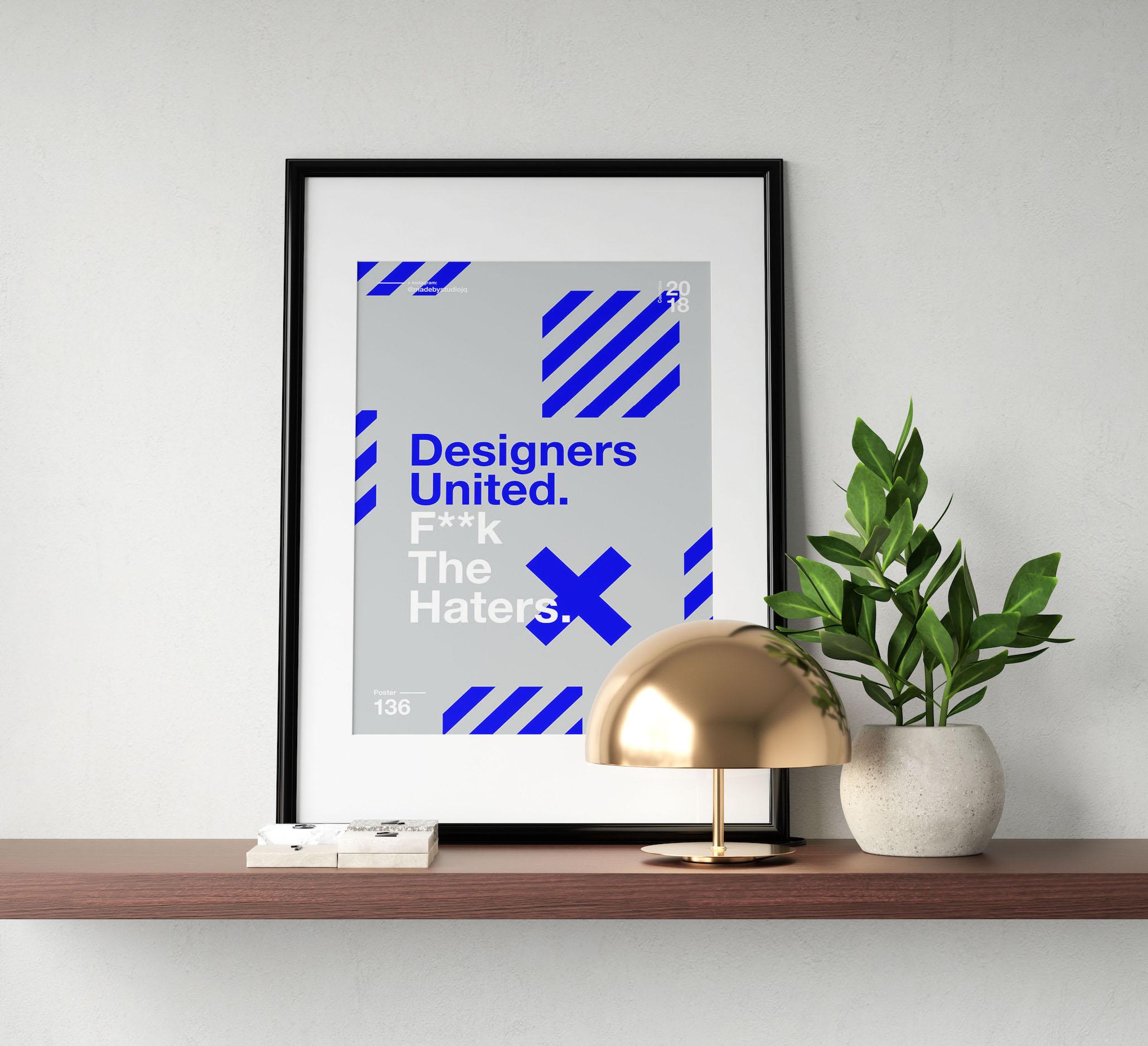 Blue & Gray Designers United Minimalist Poster Example ...