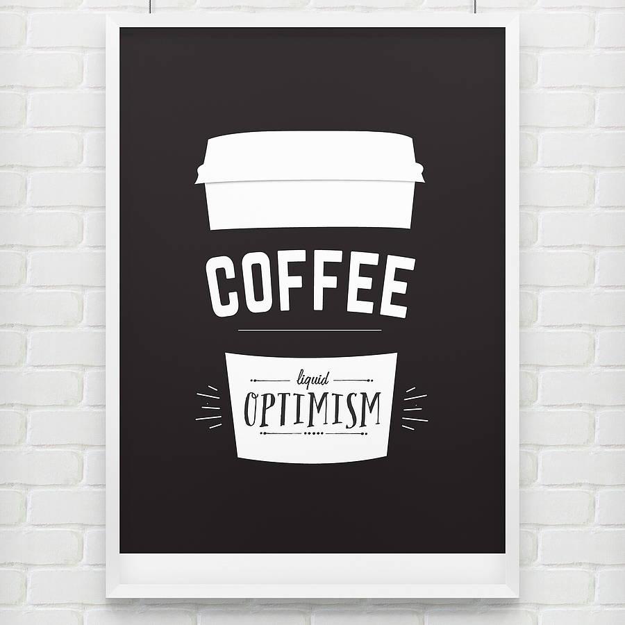 Minimalist Liquid Optimism Coffee Poster Example1