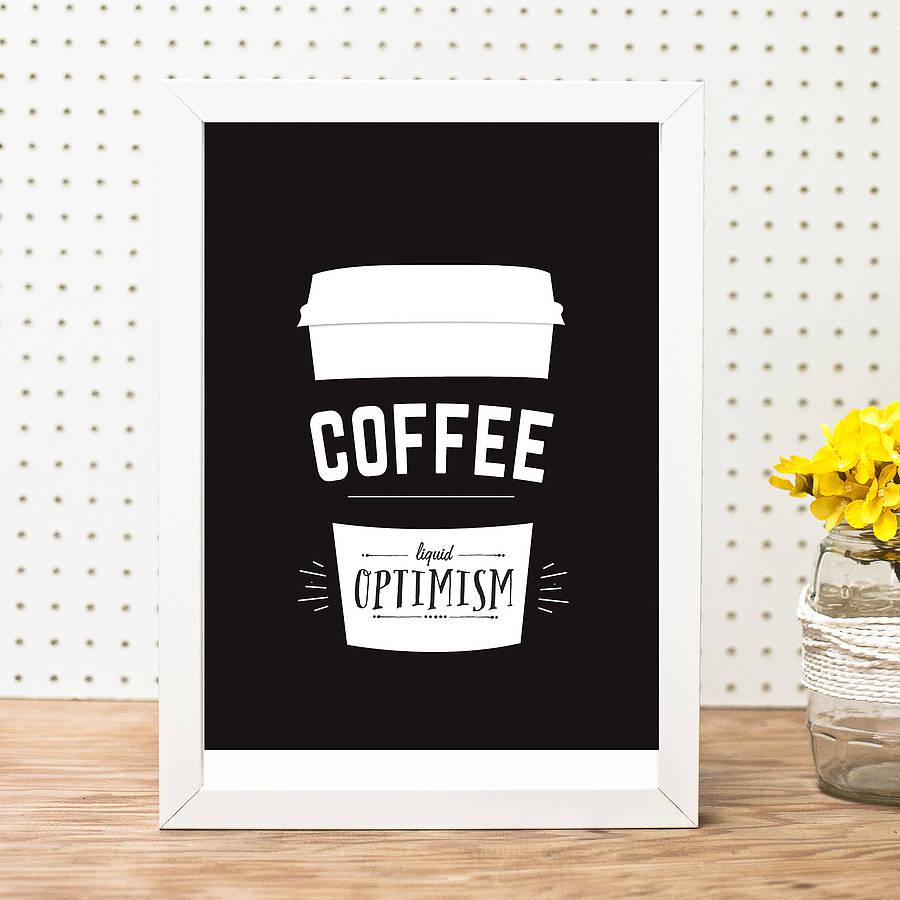Minimalist Liquid Optimism Coffee Poster Example2