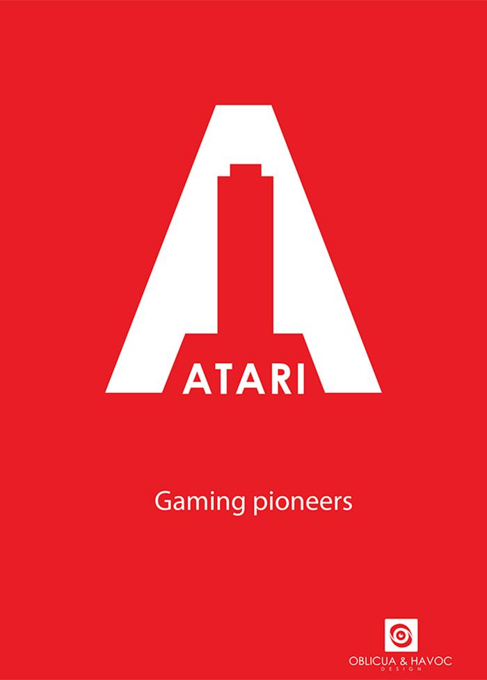 modern atari rebranding minimalist poster example