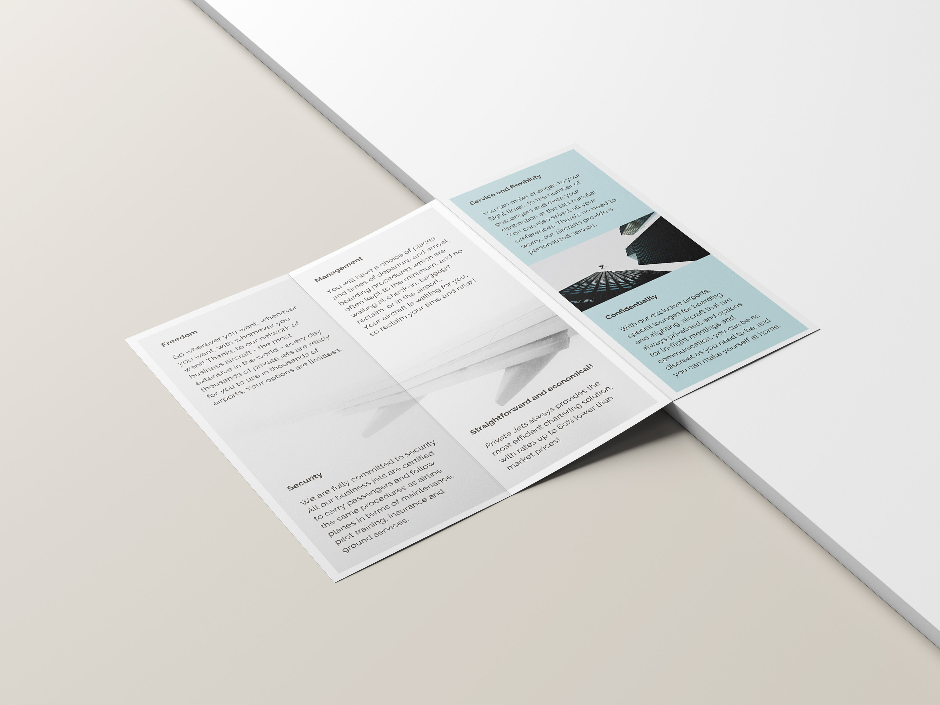 Private Jets Airline Tri-Fold Brochure