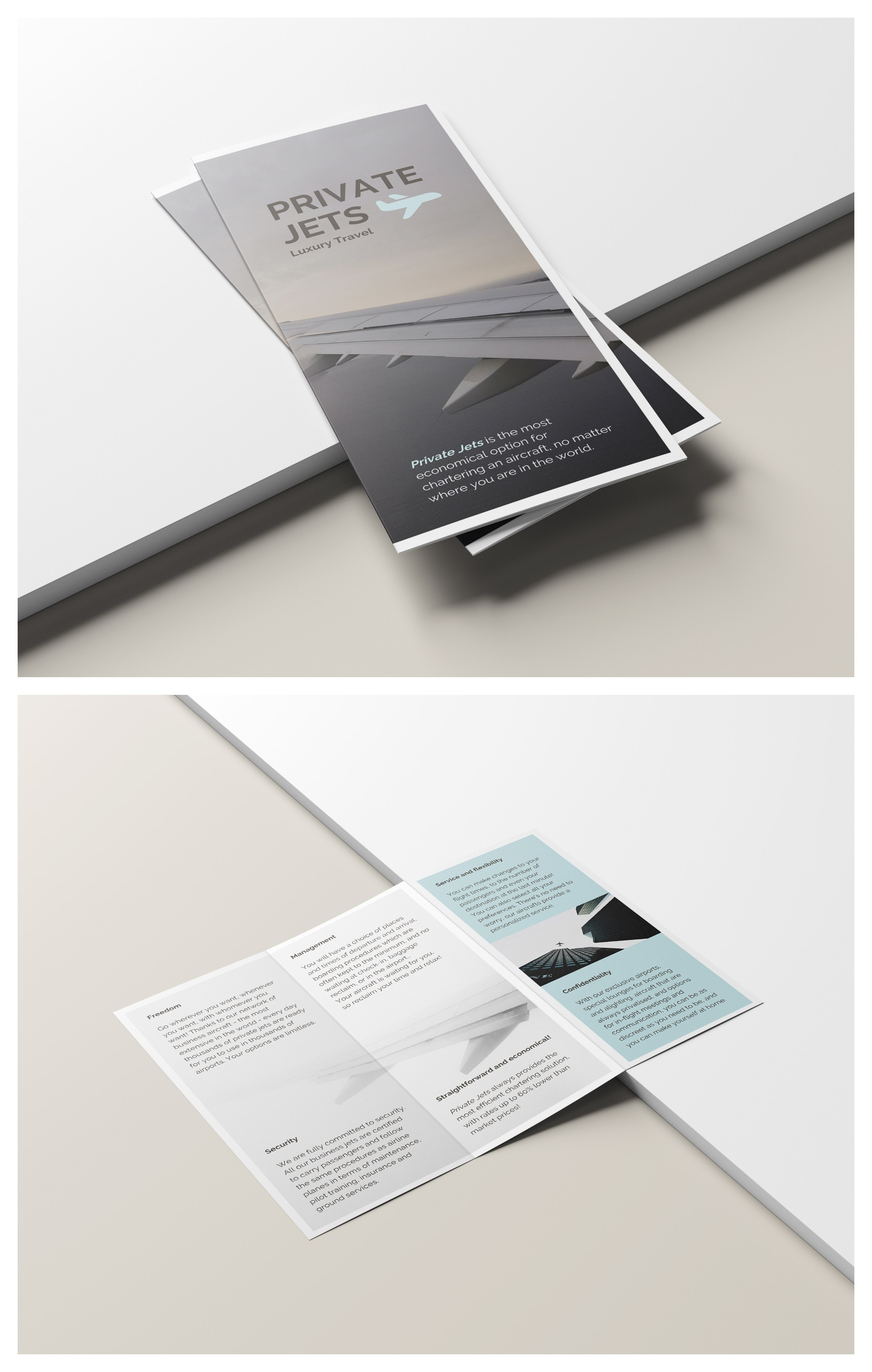 Private Jets Airline Trifold Brochure Template