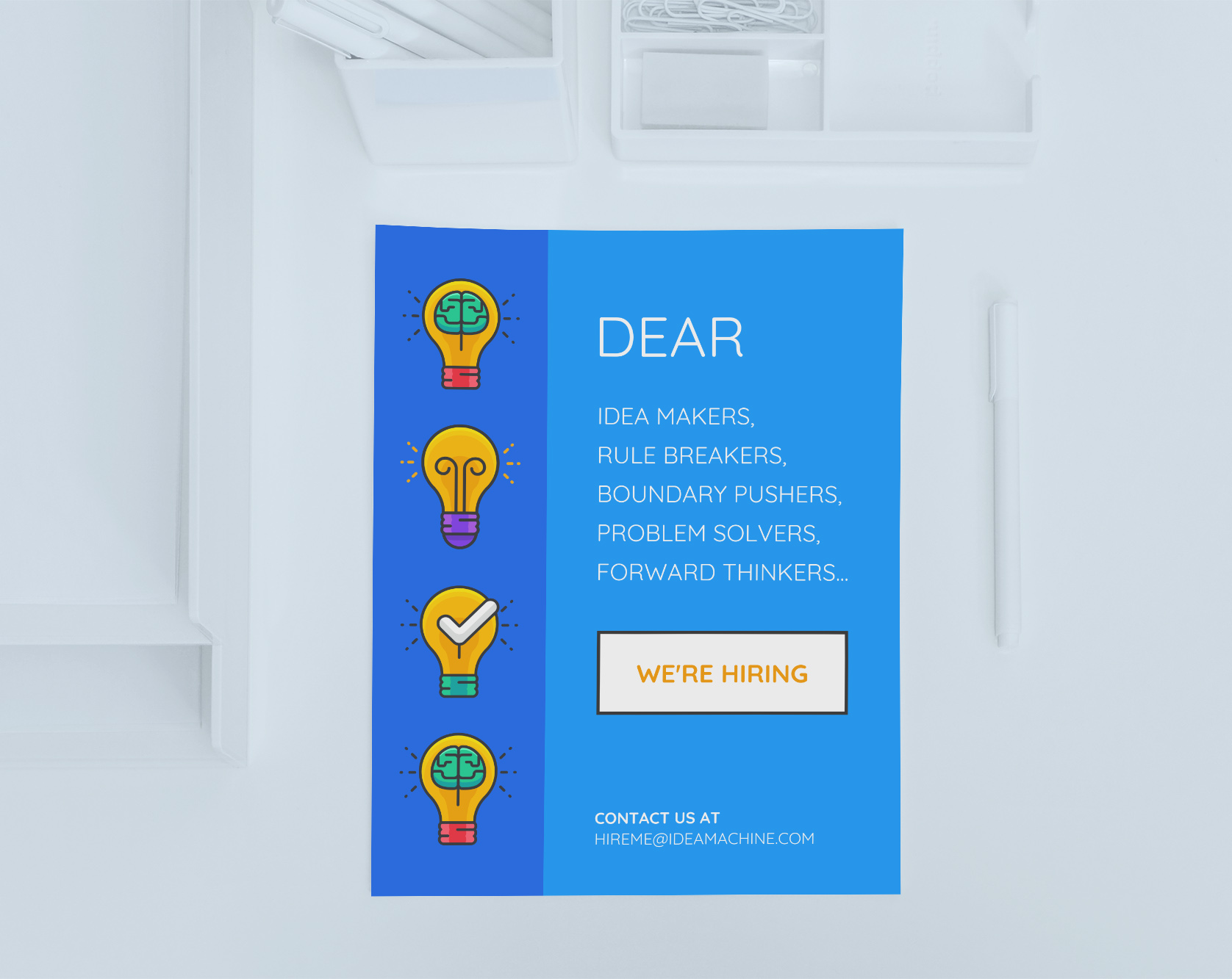 simple blue startup hiring poster example