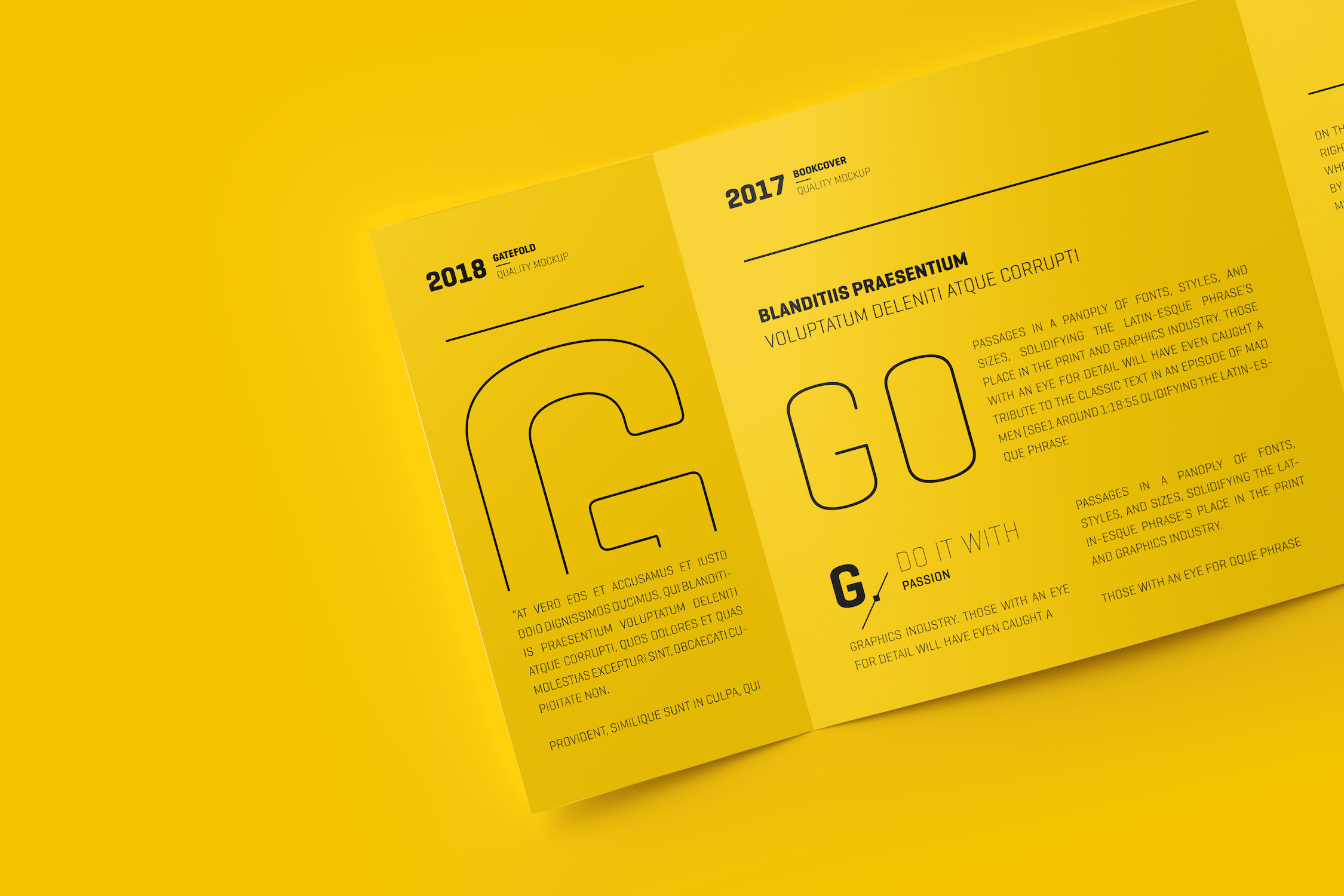 square gatefold yellow trifold brochure example