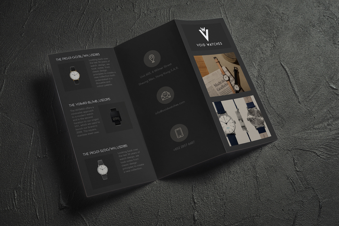 Void Watches Brochure Design Examples Creator Sattar Nariman Type Product Trifold Example